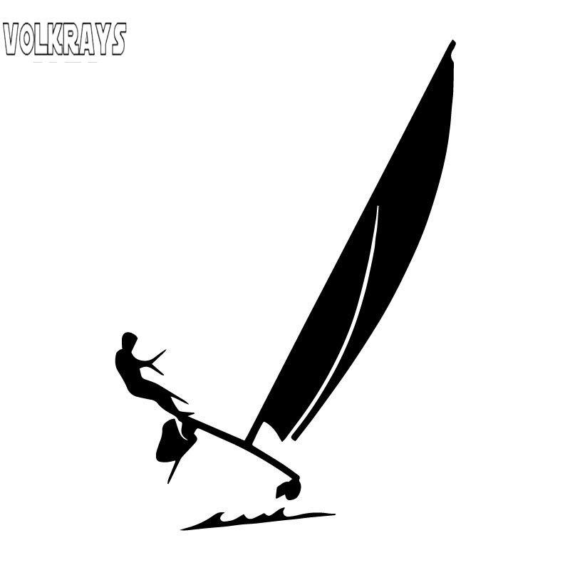 Volkrays pegatina a la moda para coche catamaranes Hobie Cat navegando el océano accesorios pegatina de vinilo reflectante negro/plata 16cm * 10cm