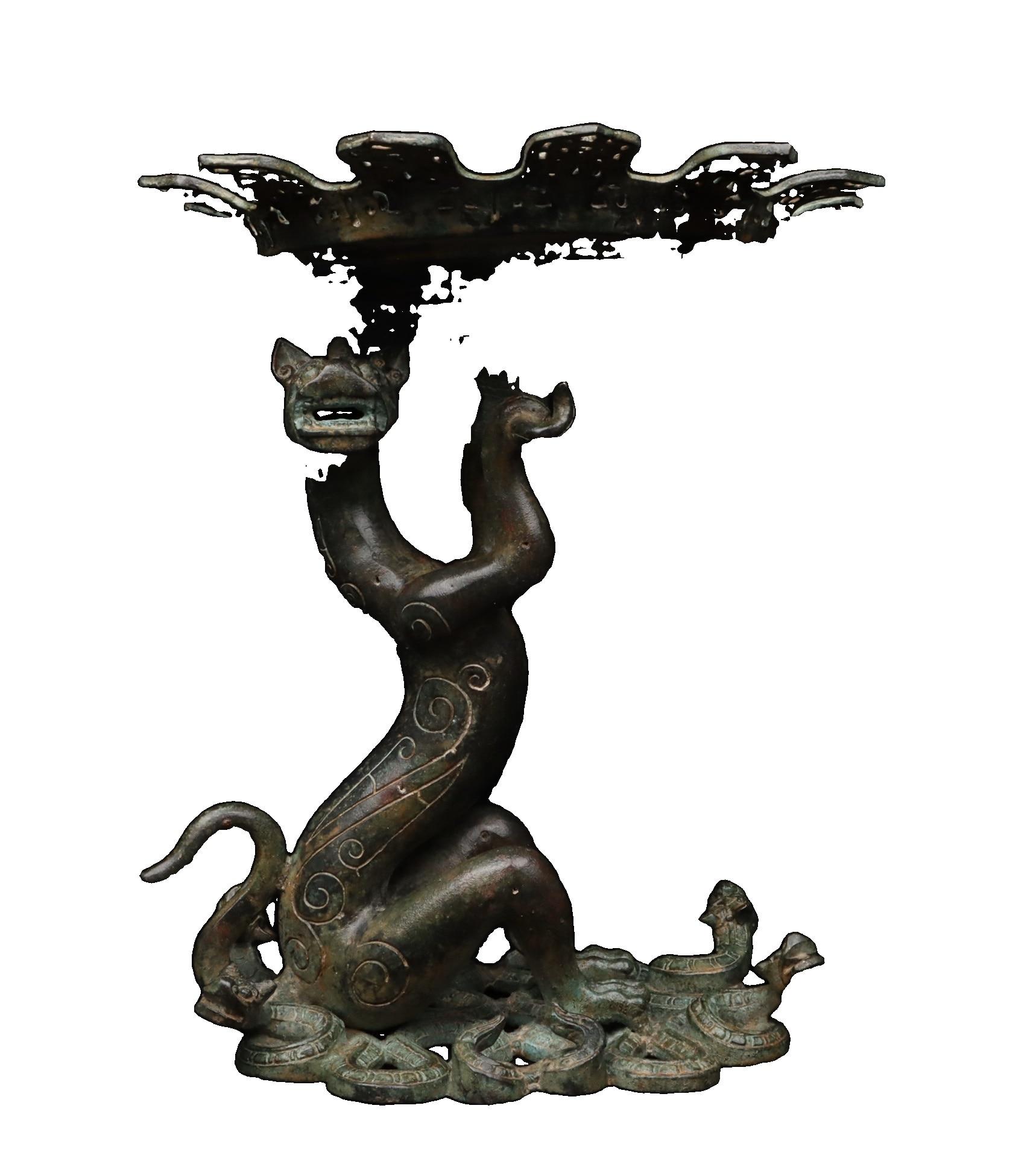Laojunlu هان سلالة: البرونزية التنين فانوس العتيقة برونزية تحفة مجموعة من المجوهرات الانفرادي النمط الصيني التقليدي