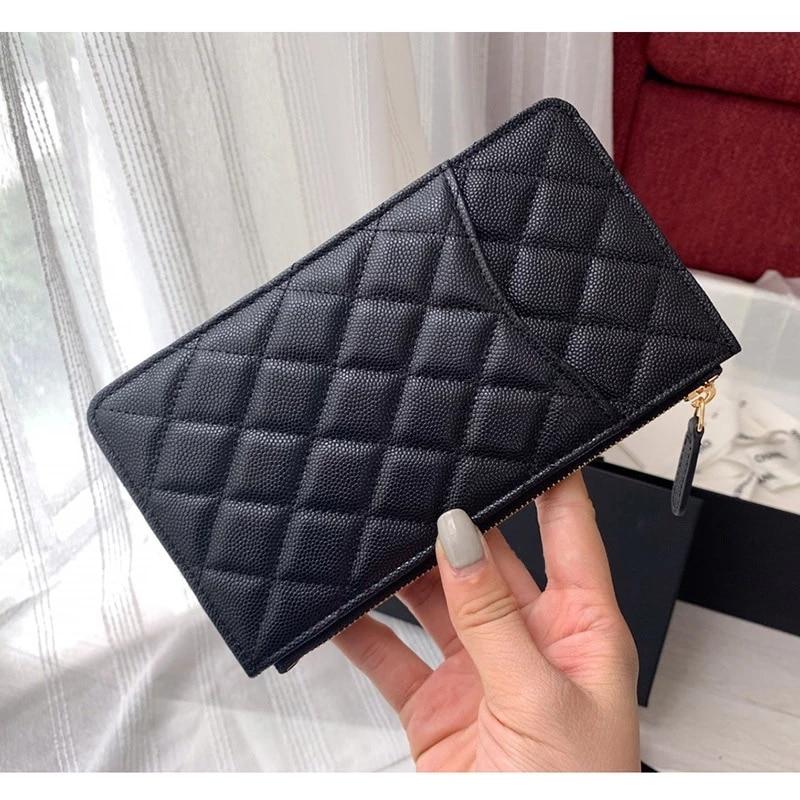 Women luxury caviar leather Wallet top quality designer brand Clutch card holder feminine purse cellphone pouch long Wallet