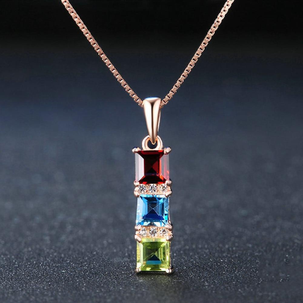 925 Sterling Slver Color tesoro joyería Natural peridoto suizo Topacio Azul granate colgante collar mujer joyería fina