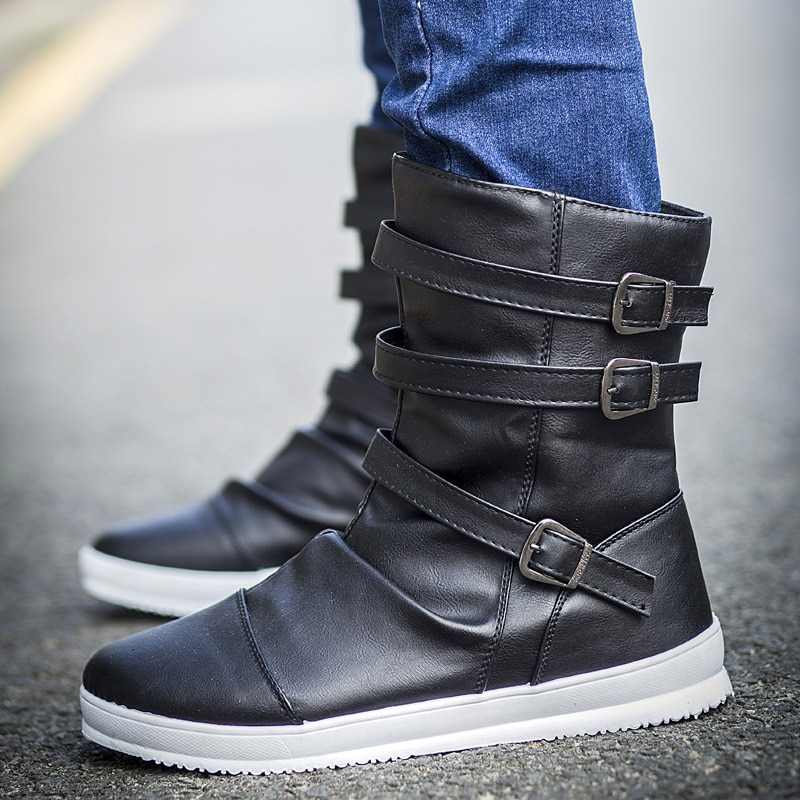 autumn winter men s chelsea boots british style fashion ankle boots black brown grey brogues soft leather casual shoes business Fashion High Tops Boots Men Fashion Pu Leather Autumn Winter Boots Male Footwear Round Toe Men Casual Shoes Ankle Chelsea Boots