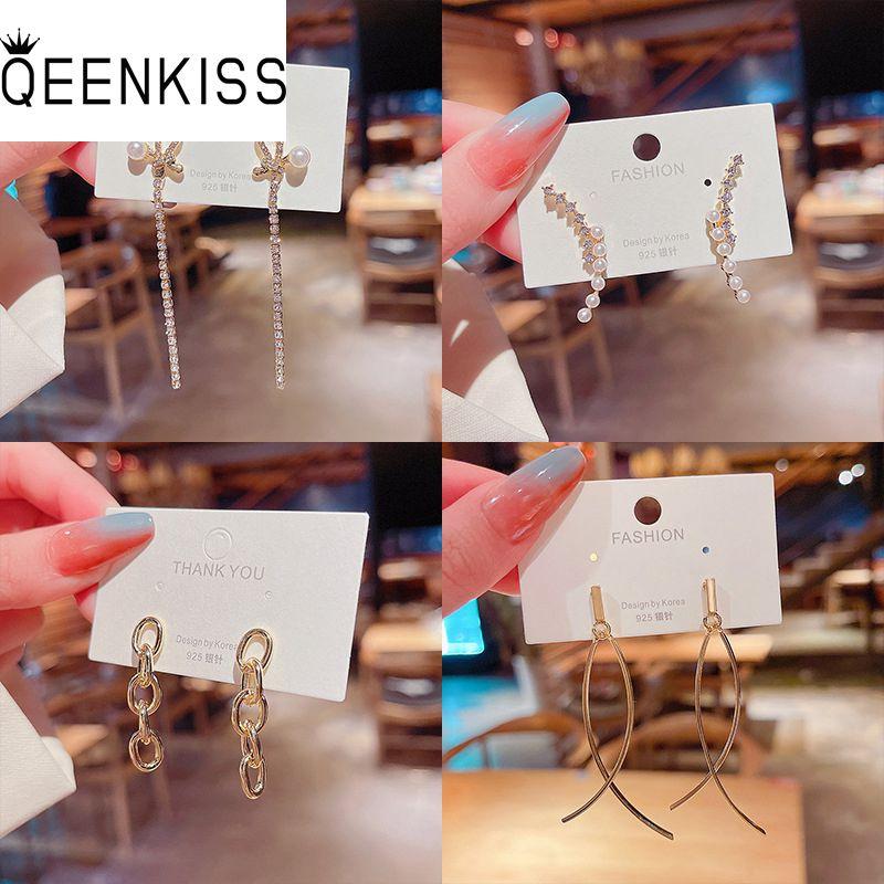 QEENKISS EG701 Fine Jewelry Wholesale Fashion Trendy Woman Girl Birthday Wedding Gift Flower AAA Zir