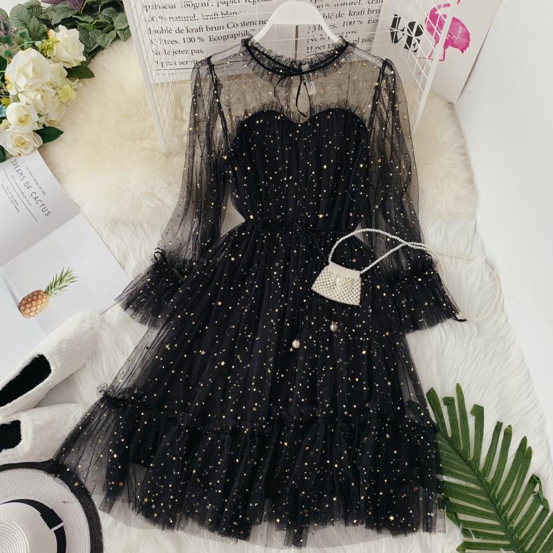 Women Prom Star Shiny Sequins Gauze Dresses Flare Sleeve Lace-up Princess Dress Female Elegant Chris