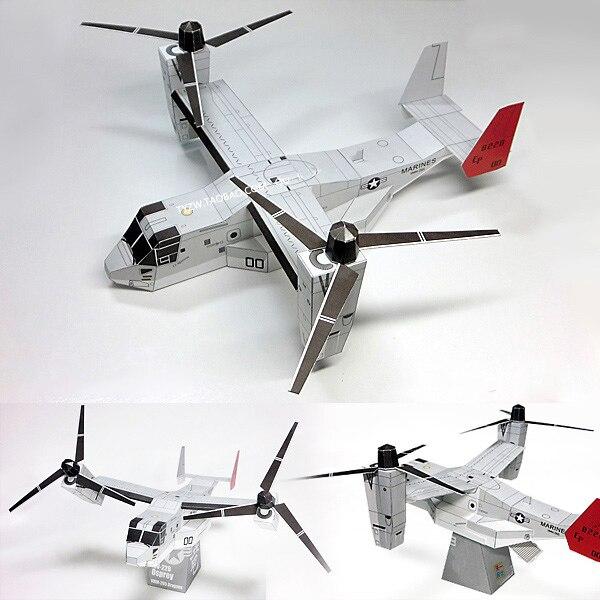 Osprey helicóptero modelo de papel transporte militar aeronaves puzzle brinquedo estudante artesanal origami modelo