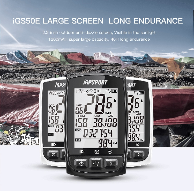 iGPSPORT Best Competitive GPS Cycle Computer iGS50E Workable with Speed Cadence Heart Rate