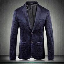 Blazer Luxury Velvet Male British Style Wedding Prom Single Breasted For Man Fashion Slim Fit Mens B