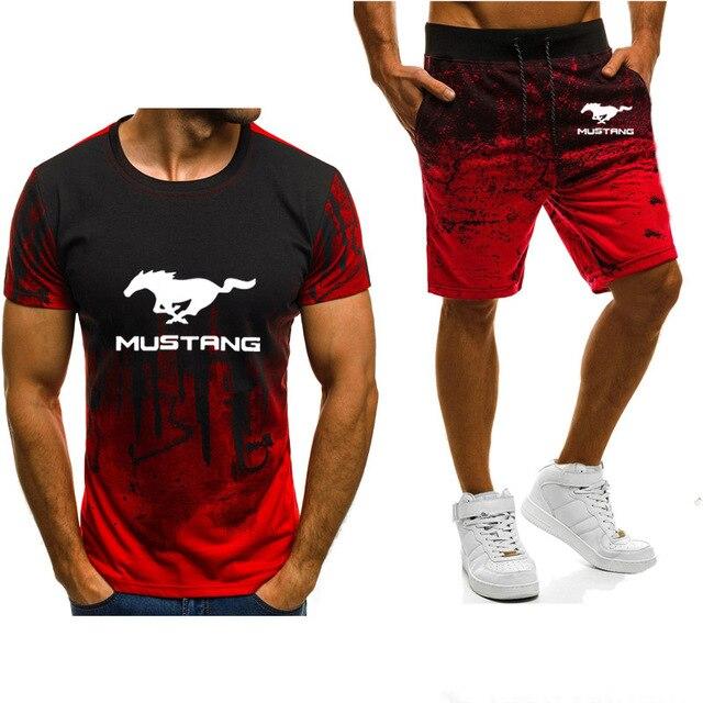 Camiseta Mustang de manga corta para hombre con diseño de logotipo de coche, camiseta casual de algodón de alta calidad con degradado y pantalones, traje de 2 uds A