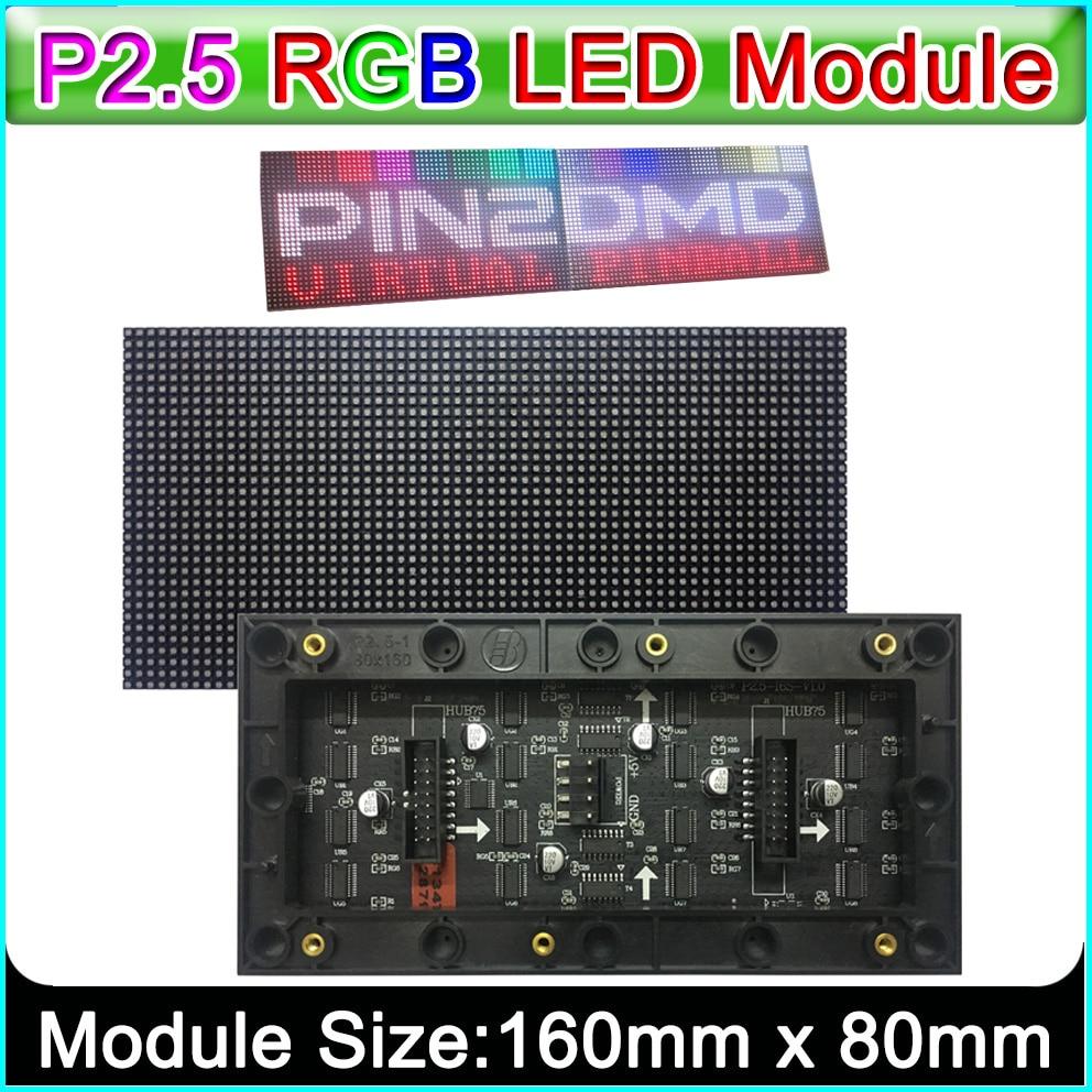 P 2,5 Indoor Voll Farbe Led-anzeige Modul, 160mm x 80mm, Flipper LED Panel,P 2,5 LED Panel Matrix, Kompatibel Mit PIN2DMD