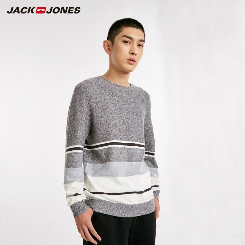 Jackjones contraste masculino listrado 100% algodão camisola pulôver topo masculino nova marca 218424501
