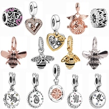 dodocharms Silver Color twinkling Cartoon Boy Girl Bee Heart-shaped Pendant Beads Fit Original Pandora Charms Bracelet Women DIY