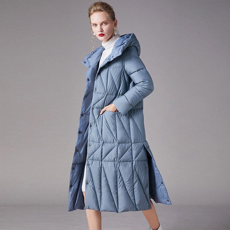 Women down coats luxury autumn winter warm fashion 90% white duck Jackets Female lady long puffer down jacket hooded blue