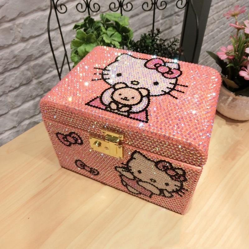 تماما اليدوية كيتي القط حجر الراين صندوق خشبي صندوق مجوهرات مع قفل KT متعدد الطبقات حبة تخزين الحاويات درج المنظم