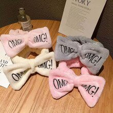 "New Letter ""OMG"" Coral Fleece Soft Bow Headbands Headwear Cute Hair Holder Hairbands Hair Bands Hair Accessories For Women Girls"