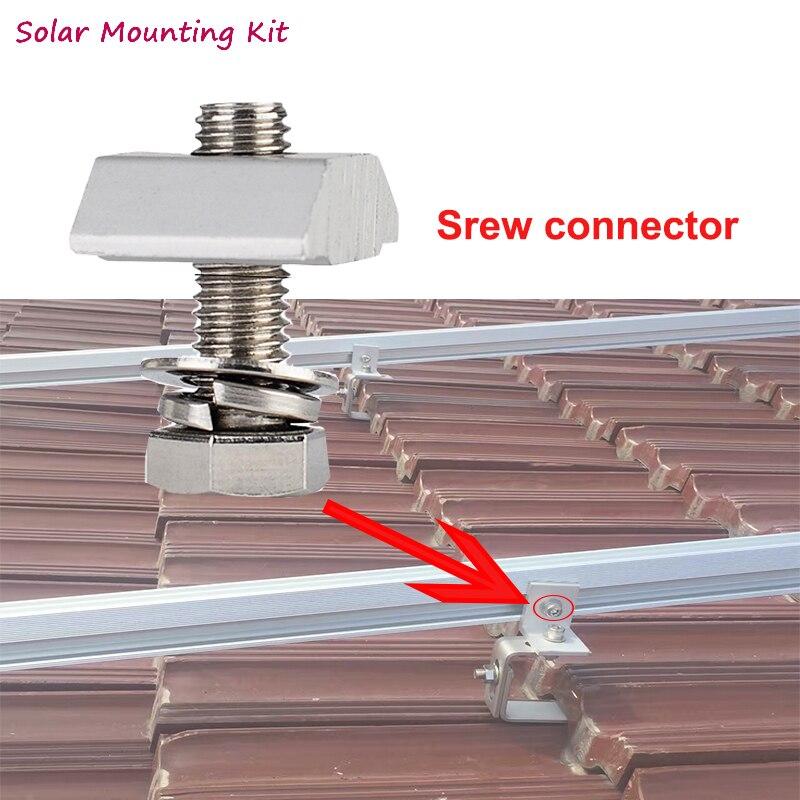 Solar panel halterung system T mutter schraube für aluminium schiene splice connector für diy solar panel install auf dach haus