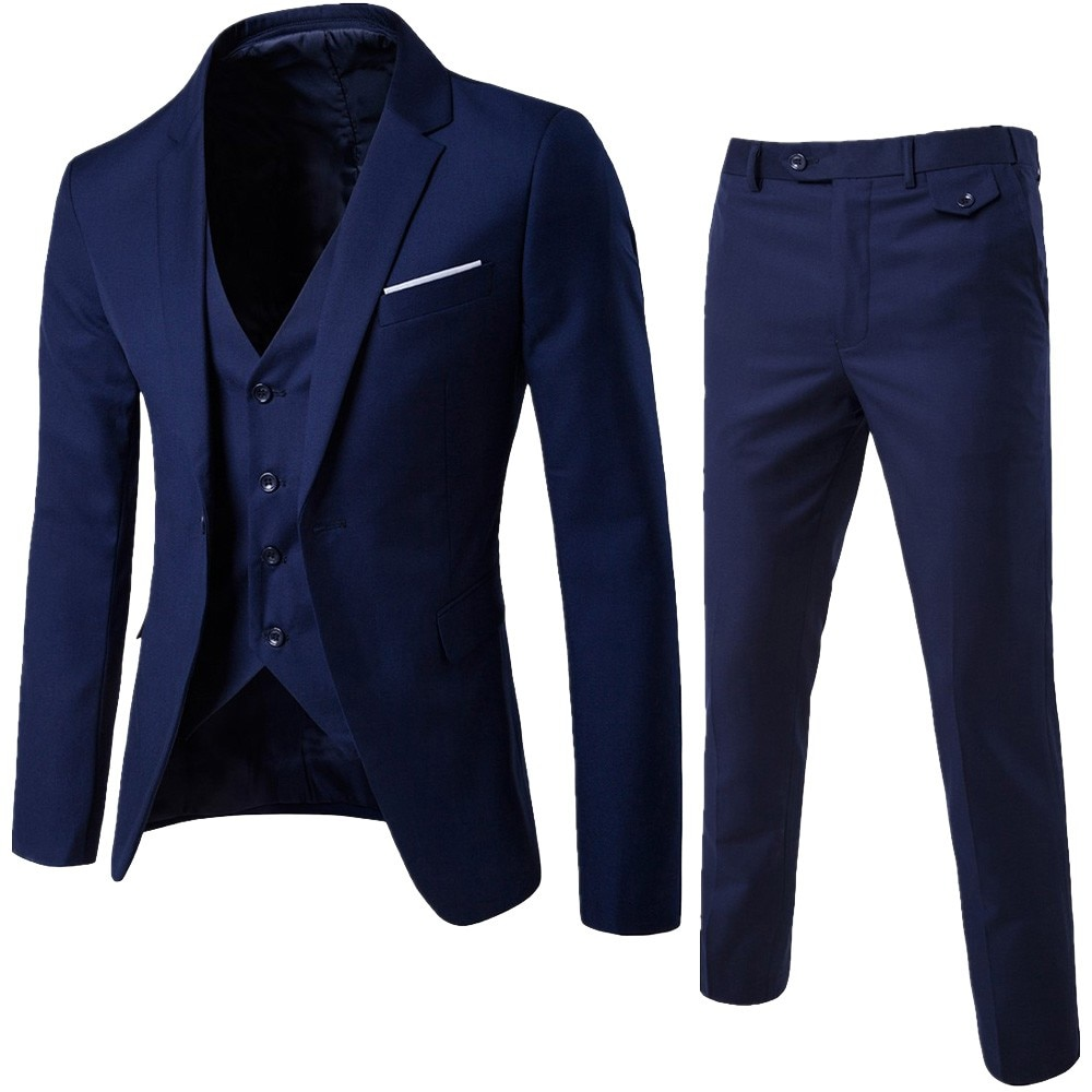 Men's Suit Slim 3-Piece Suit Blazer Business Wedding Party Jacket Vest & Pants vestidos fiesta bod