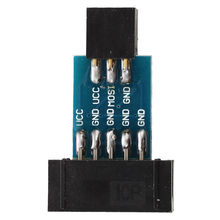 10 Pin to 6 Pin Adapter Board M/F for AVRISP USBASP STK500 Black Blue