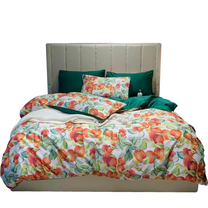Laranja fruta impressão bonito lençóis de cama folha colcha algodão egípcio conjuntos capa edredão dos desenhos animados rainha rei tamanho