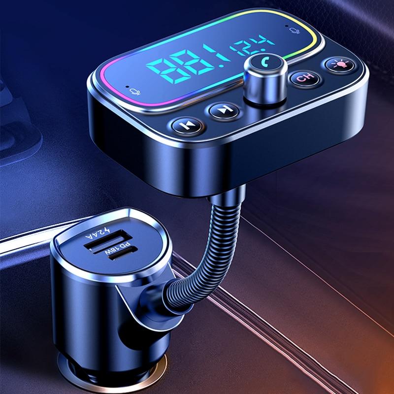 Автомобильный Bluetooth FM-передатчик, автомобильный MP3 музыкальный плеер, автомобильный PD3.0 QC, быстрая зарядка, Aux аудио выход, дисплей напряжени...