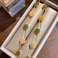 original s925 sterling silver hetian jade antique bracelet creative all match auspicious fu character female temperamental brace