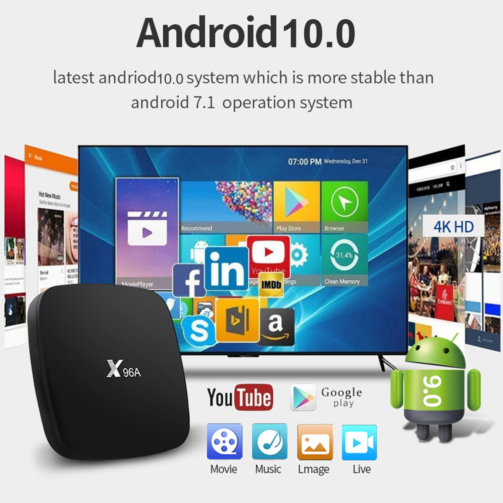 Android 10,0 TV caja Bluetooth 3D 4K 2,4 GHz/5GHz, 2GB de RAM...