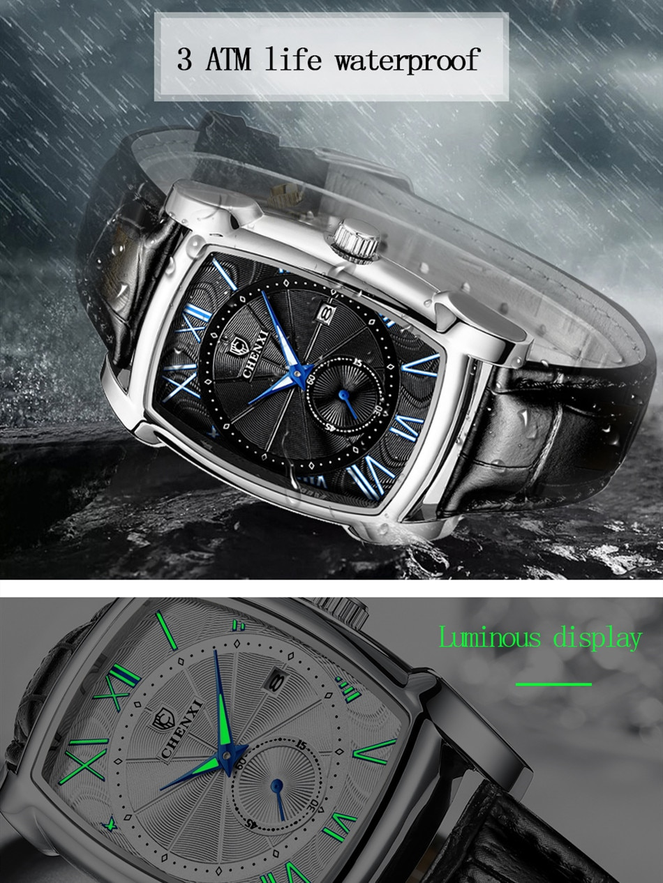 Top Brand Luxury Retro Square Men's Watch With Calendar Waterproof Leather Strap Luminous Function Quart Wristwatch enlarge