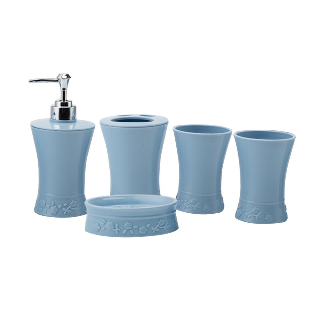 5 unids/set de baño de plástico Kit de accesorios tazas titular de cepillo de dientes de plato de jabón de baño traje (azul)