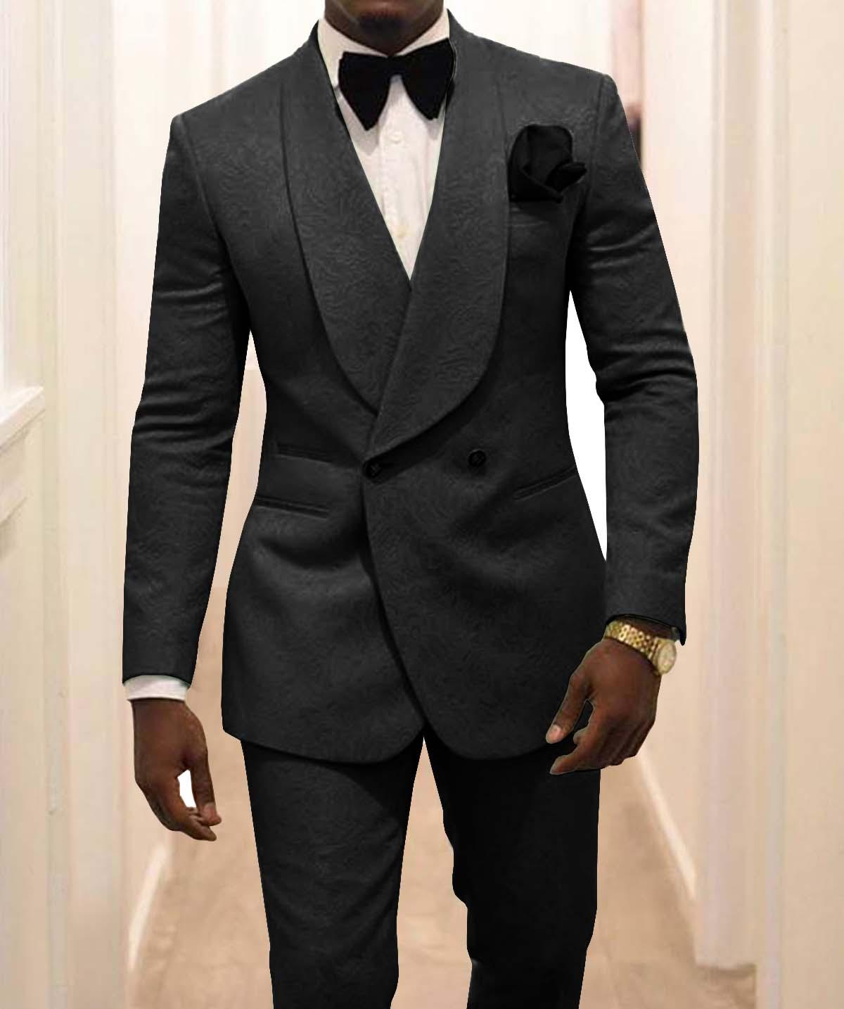 جديد وصول رفقاء الأسود نمط العريس البدلات الرسمية شال طية صدر السترة الرجال الدعاوى 2 قطعة الزفاف العريس (سترة + سروال + التعادل) C926