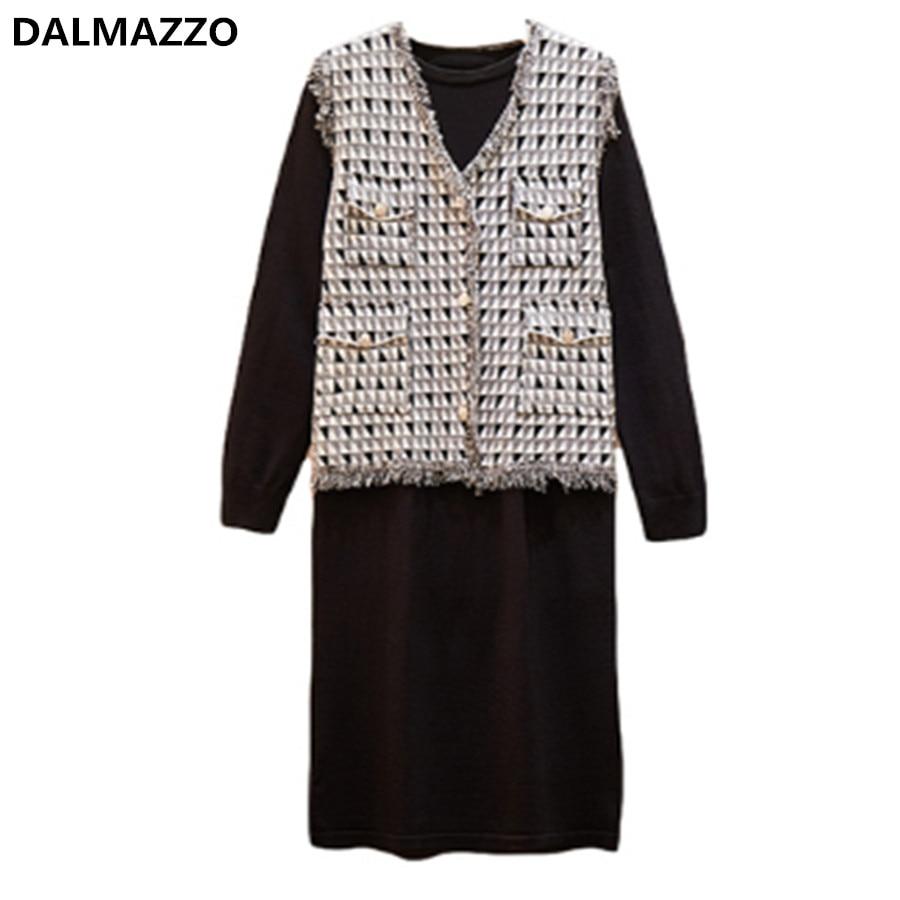 Women's Suits Single-breasted Tassel Vest Tops+ Dress 2 pieces Set Femme 2019 Newest Autumn Ladies Runway Casual Plus Size Suit