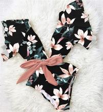 Sexy Deep V One Piece Swimsuit Women Tropical Floral Swimwear Flower Printed Monokini Ruffle Bodysuit Flounce Bathing Suit