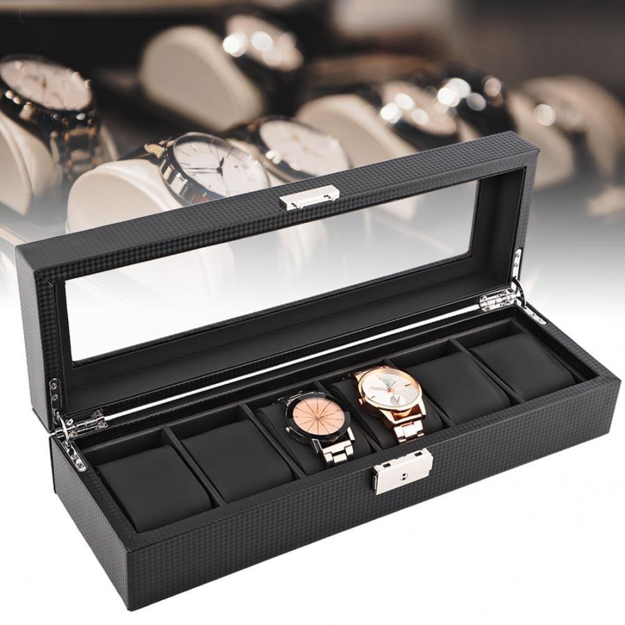 Caja de reloj de 6 ranuras caja de reloj de viaje de fibra de carbono caja de almacenamiento de joyería organizador de almacenamiento para relojes de almacenamiento