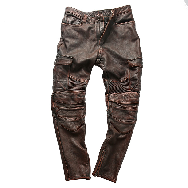 PK3 RockCanRoll Super Quality Genuine Cow Leather Motorcycle Rider Pants Vintage Stylish Cowhide Biker Trousers 4 Colours