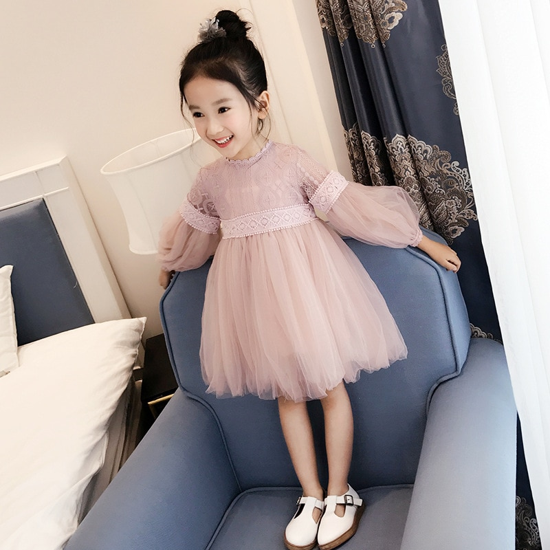 Vestido de niñas de manga larga vestido de princesa 2019 vestido de otoño para niños vestido de princesa de encaje grande para niños