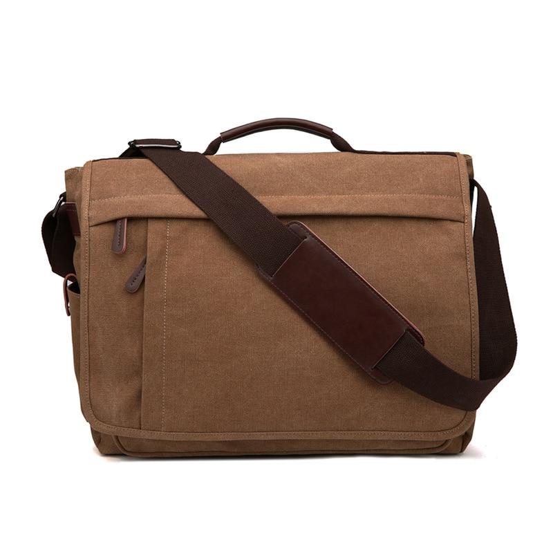 Weysfor Vogue Men Canvas Shoulder Bag Casual Retro Zipper Laptop Crossbody Outdoor Bags Mens Travel School