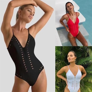 Backless Solid Color  One Piece Swimsuit Womens Bathing Suit V Neck Swimwear Badpak Swimming Suit Female Fashion Bath Suits