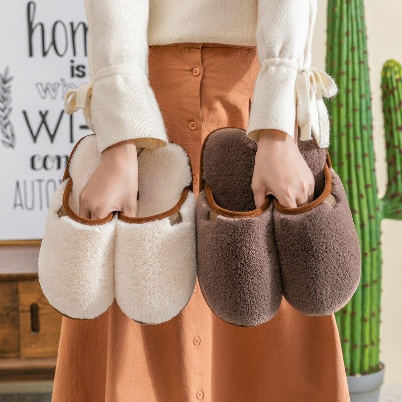 Женские зимние плюшевые домашние тапочки на плоской подошве, мягкие удобные домашние тапочки, хлопковые домашние тапочки