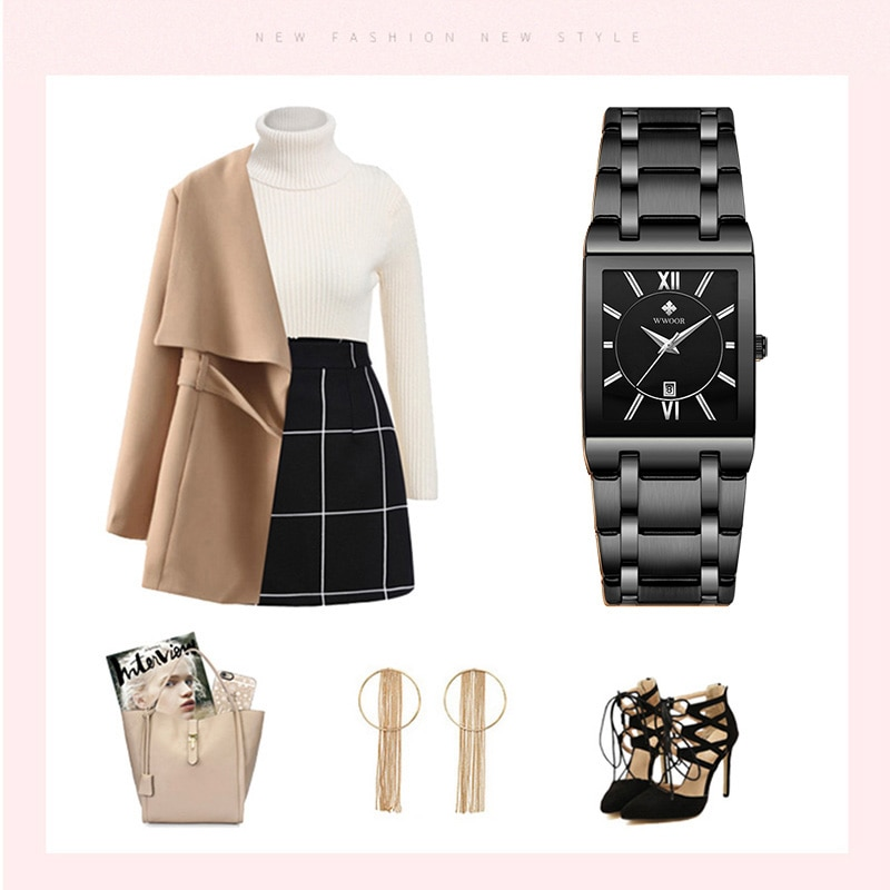Ladies Wrist Watches 2021 WWOOR Brand Fashion Womens Square Quartz Watch Women Full Black Waterproof Date Clock relogio feminino enlarge