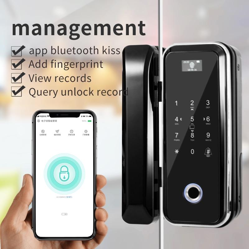 No Opening Hole Smart Fingerprint Office Double Door Glass Door Lock Remote Control Office Glass Door Security Lock