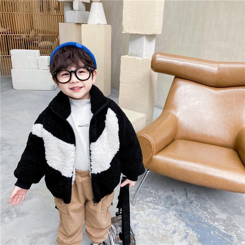 Уникальный детский комбинезон, зимняя хлопковая куртка для маленьких мальчиков и девочек, детское теплое кашемировое пальто из плотного флиса и ягненка в Корейском стиле-0