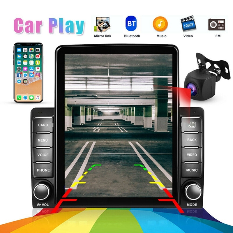 Get 2 Din 9.5Inch Contact Screen MP5 Player Car Stereo Radio for Apple/Android CarPlay Bluetooth Mirror Link Navi+HD Camera