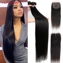 36 38 40 inch Long Straight Bundles With Closure Human Hair Brazilian Hair Weave Bundles Straight Re