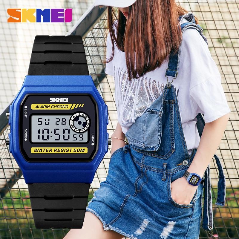 Digital Wristwatches Women's Sports Watches SKMEI Brand Fashion Wrist Watch Waterproof Stopwatch Alarm Students Relogio Feminino