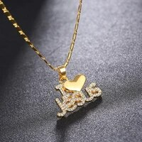 new letter jesus heart pendant necklace womens necklace bohemian crystal inlaid metal sliding pendant accessories party jewelry