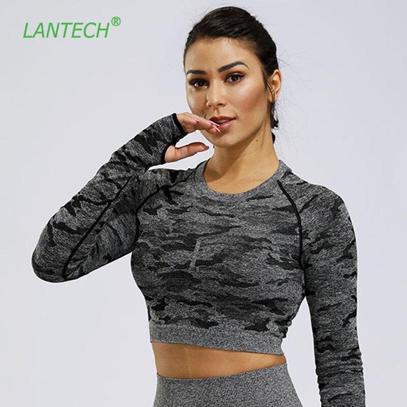 LANTECH, camisetas de gimnasio para mujeres, camisetas deportivas de Yoga corto sin costuras, camisetas de compresión de camuflaje para Fitness, ropa deportiva de entrenamiento