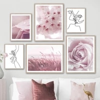 dew reed rose flower finger kiss abstract wall art canvas painting nordic posters and prints wall pictures for living room decor