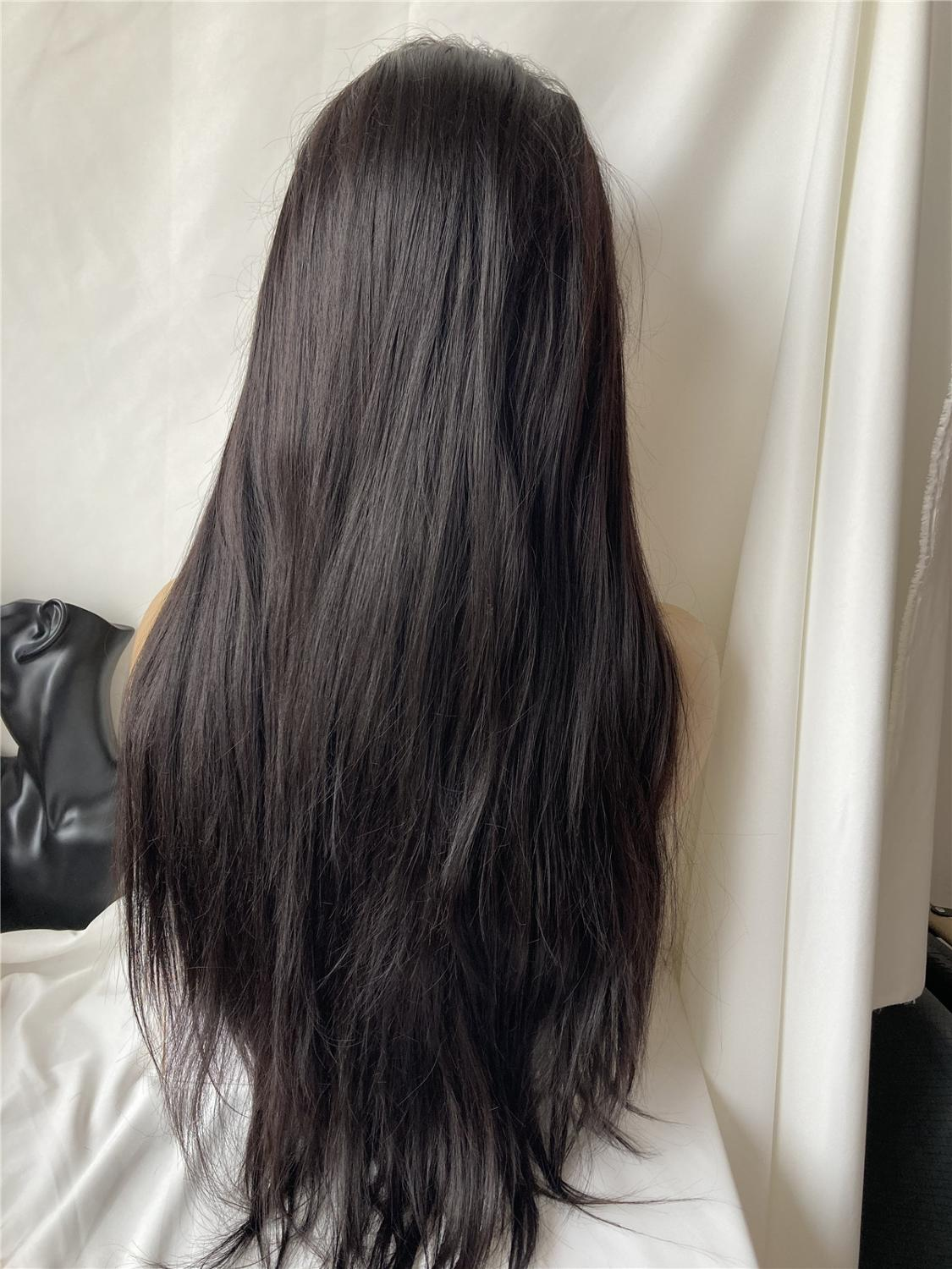 Silky Straight Glueless Synthetic Lace Front Wigs Baby Hair Heat Resistant Fiber Wig For Women