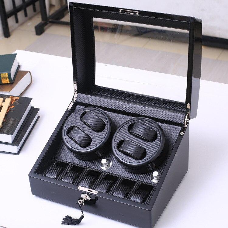 Dobadoura de Fibra 4 + 6 e 2 + 0 Alta Qualidade Relógio Automático Carbono Slient Motor Caixa Relógios Mecanismo Cases Armazenamento Exibição