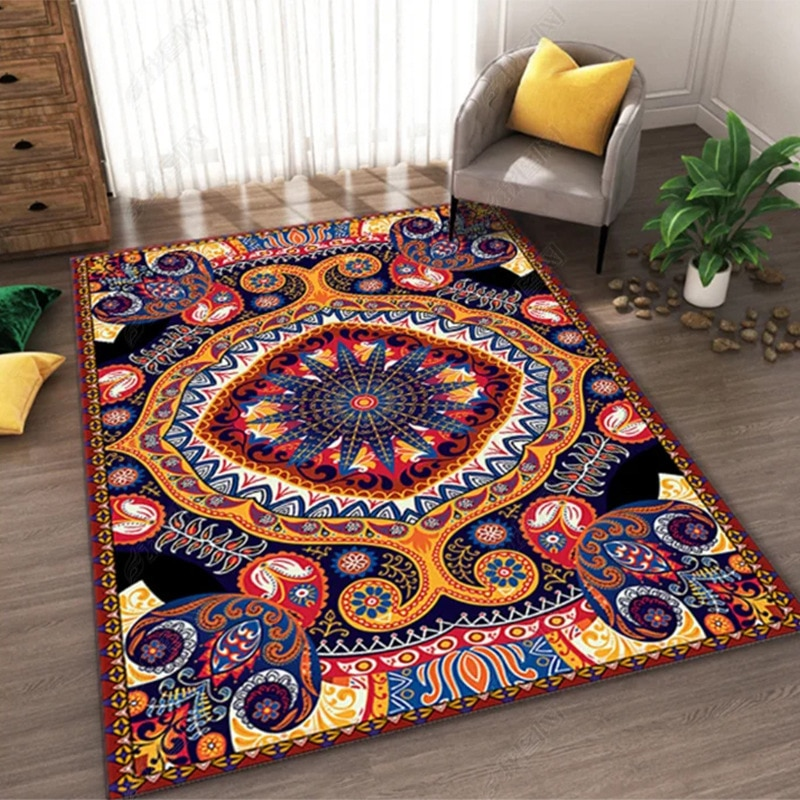 Upscale Bohemian Carpet Hand Woven Cotton Linen Carpet Pad for Living Room Coffee Table Office Floor Mat Washable Non-slip Pad