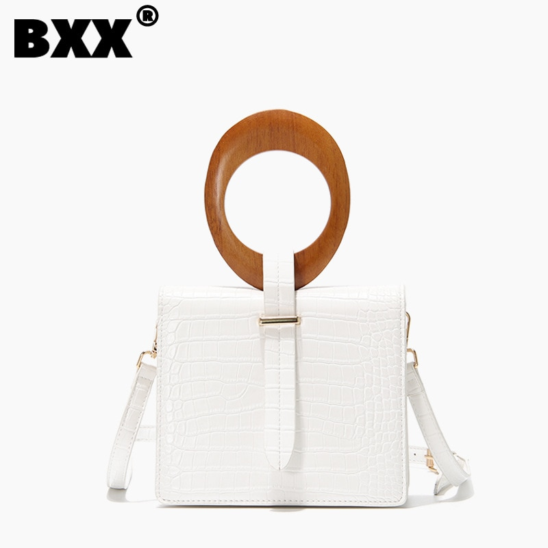 [BXX] 2021 High Quality Luxury Simple Summer Fashion New Temperament Round Wood Handle Flap Handbag Lady All Match Bag CB656
