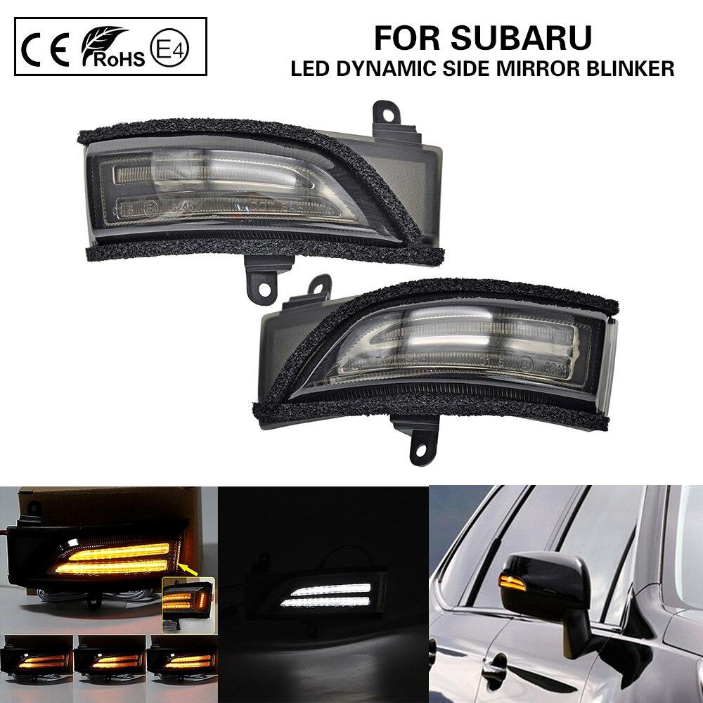 2XSmoke LED dynamic side mirror blinker Light Turn Signal Lamp For Subaru Crosstrek Forester Impreza 2.0L Legacy Outback WRX STI