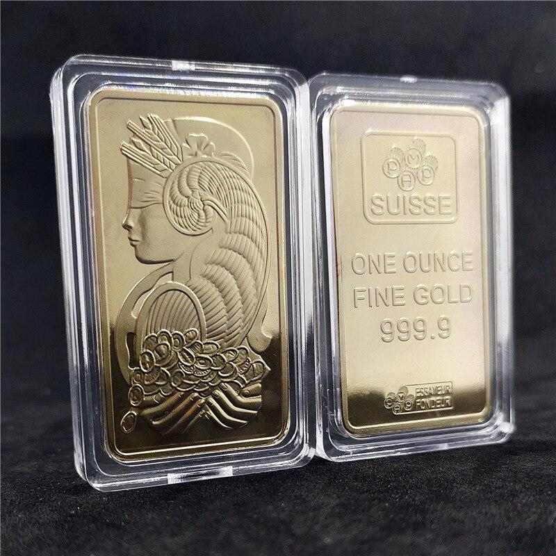 Золотые Юбилейные монеты в форме слитка, золотые монеты в форме богини, квадратные позолоченные монеты